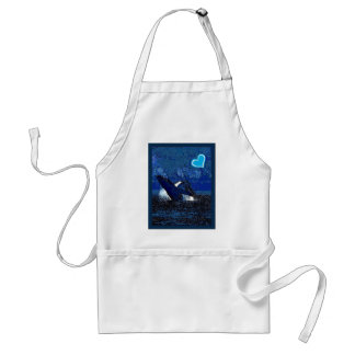 Flying Humpback Whale with heart gifts Adult Apron