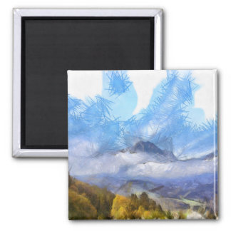 Flying ice in a storm over the Swiss Alps 2 Inch Square Magnet