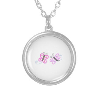 FLYING INSECT APPLIQUES ROUND PENDANT NECKLACE