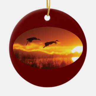 flying into the sunset ceramic ornament