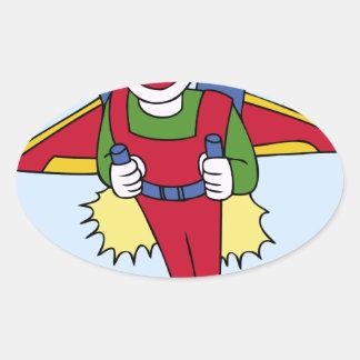 Flying Jet Pack Man Cartoon Oval Sticker