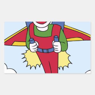 Flying Jet Pack Man Cartoon Rectangular Sticker