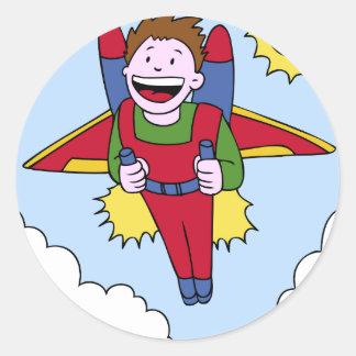 Flying Jet Pack Man Cartoon Classic Round Sticker