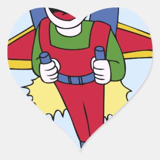Flying Jet Pack Man Cartoon Heart Sticker