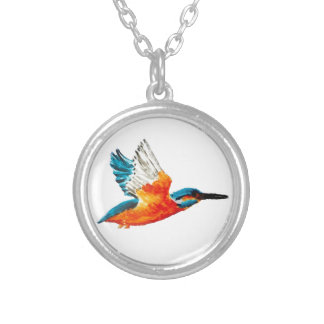Flying Kingfisher Art Silver Plated Necklace