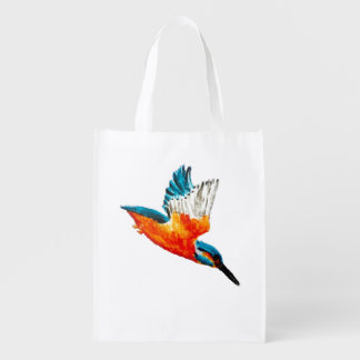 Flying Kingfisher Bird Reusable Grocery Bag