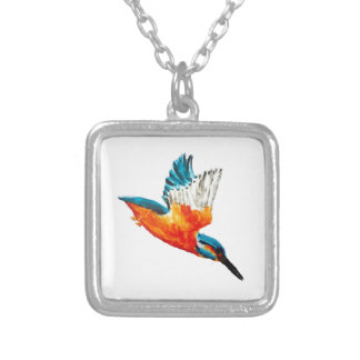 Flying Kingfisher Silver Plated Necklace