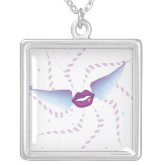 Flying Kisses Express Square Pendant Necklace