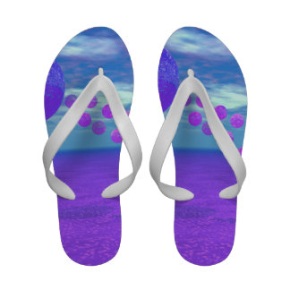 Flying Kite, Abstract Violet, Orchid, Rose, Purple Flip-Flops