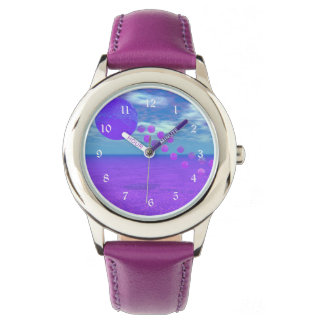 Flying Kite, Abstract Violet, Orchid, Rose, Purple Wrist Watches