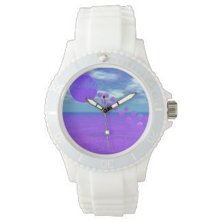Flying Kite, Abstract Violet, Orchid, Rose, Purple Wristwatch