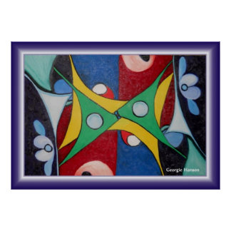 Flying Kites Abstract Painting by Georgie Hanson Poster