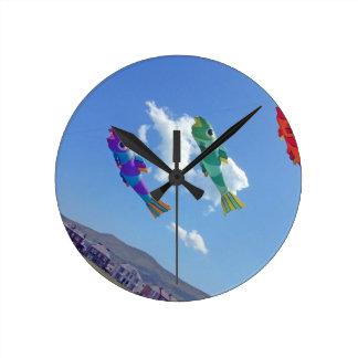 Flying Kites Round Wallclock