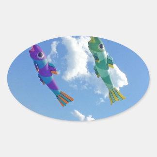 Flying Kites Oval Sticker
