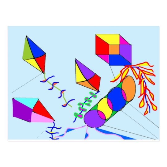 flying-kites postcard