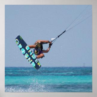 Flying Kitesurfer Poster