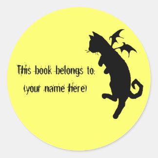 Flying kitteh bookplate round sticker