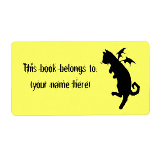 Flying kitteh bookplate, square label