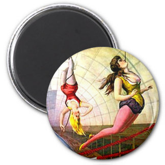 Flying Ladies Vintage Circus Trapeze Act Victorian 2 Inch Round Magnet