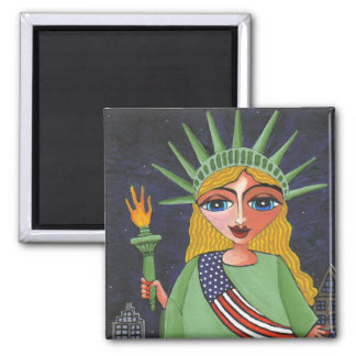 Flying Lady Liberty - magnet (square)