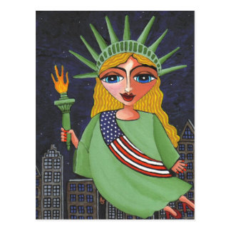 Flying Lady Liberty - postcard