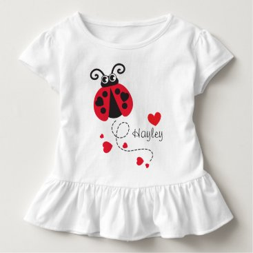Valentines Themed Flying ladybug hearts red name t-shirt