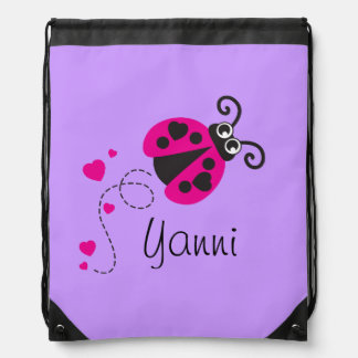 Flying ladybug kids name purple drawstring bag