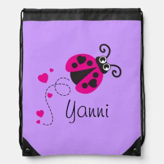 Flying ladybug kids name purple drawstring bag