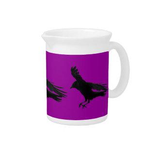 Flying Landing Black Crow Art Beverage Pitcher