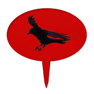 Flying Landing Black Crow Art Cake Topper
