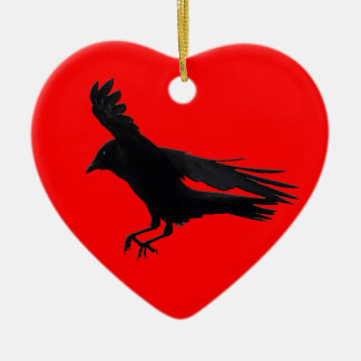 Flying Landing Black Crow Art Ceramic Ornament