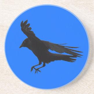 Flying Landing Black Crow Art Coaster