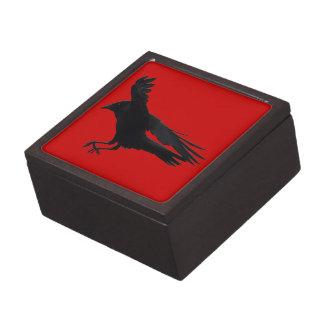 Flying Landing Black Crow Art Keepsake Box