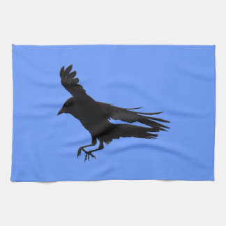 Flying Landing Black Crow Art Kitchen Towel