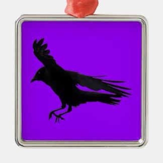 Flying Landing Black Crow Art Metal Ornament