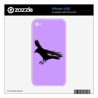 Flying Landing Black Crow Art Skin For The iPhone 4S