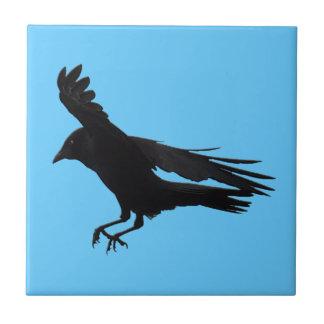 Flying Landing Black Crow Art Tile