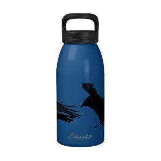 Flying Landing Black Crow Art Water Bottle