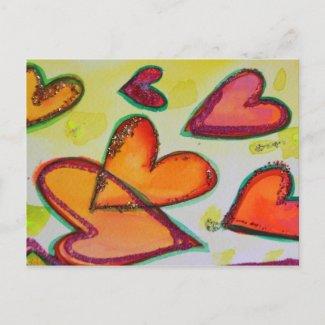 Flying Laugh Hearts Postcard postcard