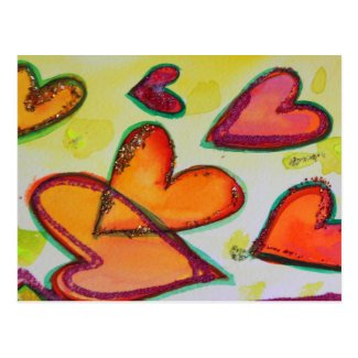 Flying Laugh Hearts Postcard