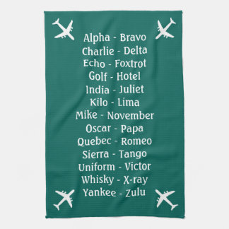 Flying Lesson Phonetic Alphabet Aero Plane Spotter Towel