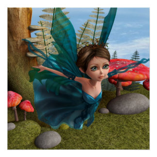 Flying Little Fairy Butterfly Poster
