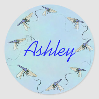 Flying Loop Dragonfly Round Stickers