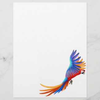 Flying Macaw Parrot Letterhead Stationery 8.5 x 11