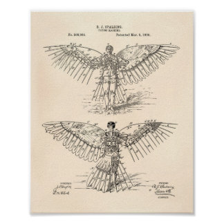 Flying machine 1889 Patent Art - Old Peper Poster