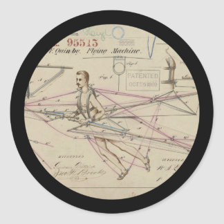Flying Machine Glider Patent Classic Round Sticker