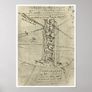 Flying Machine, Leonardo da Vinci, 1488 Poster