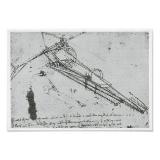 Flying Machine, Leonardo da Vinci, 1490 Poster