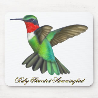 Flying Male Ruby Throated Hummingbird Mousepad
