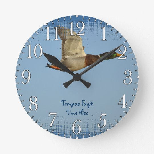 Flying Mallard Duck Art for Wildlife lovers Round Clock